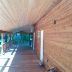Stain rough cedar siding and clear coat all T&G Soffit in Plain, WA